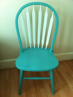 Dining chair painted with Annie Sloan Chalk Paint.  Provence and Old White.