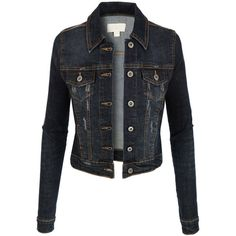 LE3NO Womens Vintage Long Sleeve Denim Jean Jacket with Pockets ❤ liked on Polyvore featuring outerwear, jackets, cotton jacket, vintage jackets, distressed denim jacket, tailored denim jacket and long sleeve jacket