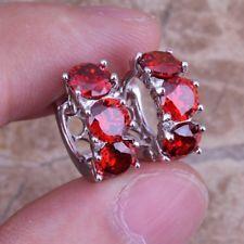Fashion Jewelry 925 Silver Ruby Ear Studs Hoop Earring Women's Gift X1524