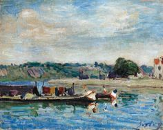 Alfred Sisley (1839 - 1899) BORD DU LOING À SAINT-MAMMÈS. Signed Sisley (lower right) Oil on canvas. 21.5 by 27.1cm., 8 1/2 by 10 5/8 in. Painted in 1885. (hva)