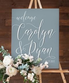 Miss Design Berry's French Blue and white wedding welcome sign features dynamic type for an elegant yet modern look, perfect for your Dusty Blue wedding. See more here: https://www.etsy.com/listing/524744867/french-blue-wedding-welcome-sign-for?ref=shop_home_active_2