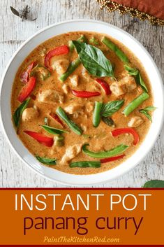 This Instant Pot Thai Panang Curry with Chicken tastes like its from a Thai restaurant. Creamy coconut milk Panang curry paste chicken vegetables and spices come together to make a delicious curry that tastes great with jasmine rice. Its quick and e Thai Panang Curry, Panang Curry Recipe, Panang Curry Chicken, Thai Curry Recipe Easy, Panang Curry Paste, Best Instant Pot Recipe, Instant Pot Dinner Recipes, Instant Pot Pressure Cooker, Pressure Cooker Recipes