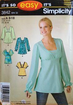 Tunic Sewing Patterns, Plus Size Sewing Patterns, Dress Making Patterns, Tunic Pattern, Sewing Stitches, Simplicity Sewing Patterns, Clothing Patterns, Blouse Pattern Free, Plus Size Summer Fashion