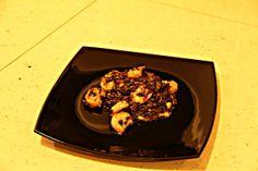 Czarne risotto z krewetkami