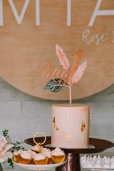 Mia's Rose Gold Garden Party   HOORAY! Mag   Personalised Cake Topper   First Birthday Party  