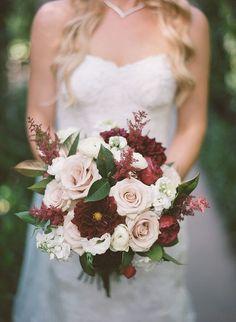 Burgundy dahlias, peonies, champagne roses, astilbe wedding bouquet
