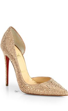Christian Louboutin Gold Crystal Pumps ~Tнεα