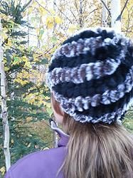Gorgeous Black and Silver Bunny Beanie.  Double wall construction allow this rabbit fur hat to expand and fit just like a beanie.  Cozy warm and soooo beautiful!