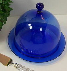 RARE France Arcoroc Cobalt Blue Glass Pastry Cheese Danish Cloche Dome Plate | eBay