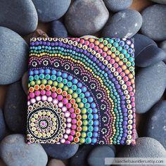 Authentic Aboriginal Art Rainbow Dot Painting by RaechelSaunders