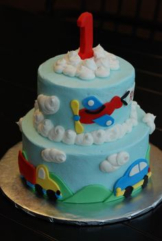 Planes, trains & automobiles {Tiered Transportation Cake}   A Little Something Sweet - Custom Cakes