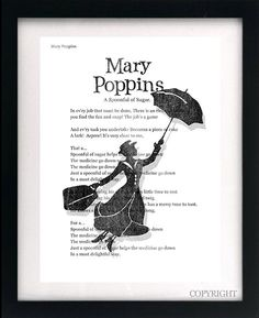 Mary Poppins Song Lyrics Art Book Print A3 or A4 by circlewallart, £13.99