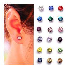 9 colors magnet Clips Earrings for women 4mm 5mm Crystal Ear Cuff earrings no pierced fake piercing oringe