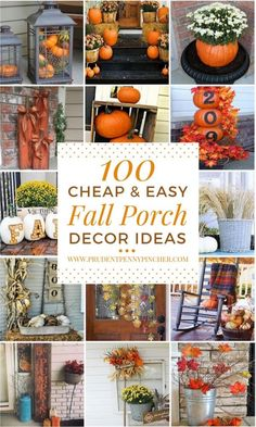 100 Cheap and Easy Fall Porch Decor Ideas - Thanksgiving Decorations Diy Easy Home Decor, Cheap Home Decor, Cheap Fall Decorations, Diy Thanksgiving Decorations, Homemade Decorations, Thanksgiving Table, Christmas Decorations, Festival Decorations, Fal Decor