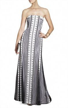 $236 BCBG KIA STRAPLESS PRINT-BLOCKED DRESS