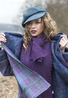 Tartan Spirit -Harris Tweed and silk embroidery detail - Tartan Spirit Couture by Joyce Young Plaid Fashion, Purple Fashion, Fashion Outfits, Latex Fashion, Gothic Fashion, Winter Fashion, Women's Fashion, Burberry, Tweed Run