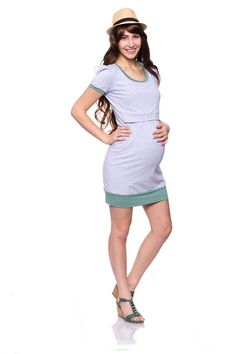 Viva la Mama | Spring is coming! Nursing dress ODA (grey/mint-white dots). This short dress is a must-have for your upcoming spring/summer pregnancy wardrobe! ODA is also ideal for discreet breastfeeding as well as after the nursing period. The dress is a wonderful gift for Valentine's Day, birth or baby shower!