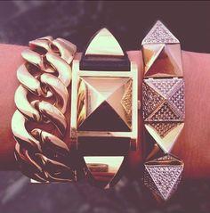 Rebecca's trio of bracelets...a studly combination
