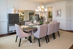 Whittington - Classic #chandelier #dining #modelhome