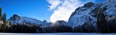 Yosemite Valley Snow Sunrise Panorama #landscape #yosemite #valley #snow #sunrise #panorama #