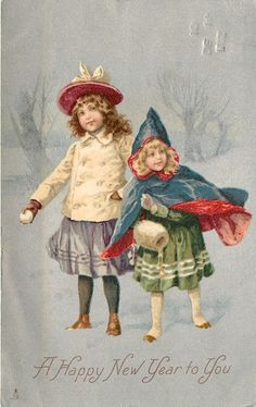 A HAPPY NEW YEAR TO YOU  two children, one with snowball, other wearing muff, silver background
