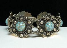 Vintage Southwesten Bracelet - Conch Style Links with Faux Turquoise Cabs - Signed ALP Vintage Link Design #Vintage #Jewelry