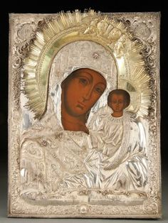 A LARGE AND IMPRESSIVE RUSSIAN ICON OF THE KAZAN MOTHER OF GOD, FREDERIC FABER, ST. PETERSBURG, 1843.    Sold for $26,000