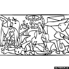 Pablo Picasso Coloring Pages - Free Coloring Page Of Pablo Picasso Painting Guernica Picasso Guernica, Kunst Picasso, Art Picasso, Picasso Drawing, Picasso Paintings, Online Coloring Pages, Free Coloring Pages, Picasso Kids, Ink Pen Drawings
