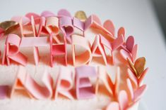 custom wedding ideas fondant lettering cake topper pastel pink peach