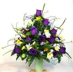 Spring Cemetery Vase Flower Arrangement Featuring Purple Roses and Wildflowers, $35.99