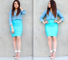 amazing pencil skirt outfits | ... Kardashian Inspired (chambray shirt, blue pencil skirt, white pumps