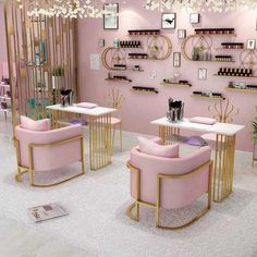 Pink Nail Salon, Luxury Nail Salon, Home Beauty Salon, Home Nail Salon, Nail Salon Design, Nail Salon Decor, Beauty Salon Decor, Salon Interior Design, Beauty Salon Design
