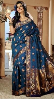 Adorable Trquoise Blue Embroidered Saree