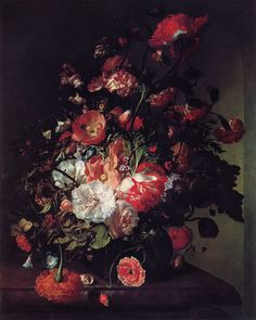 Rachel Ruysch was a Dutch artist who specialized in still-life paintings of flowers, one of only three significant women artists in Dutch Golden Age painting, of whom Maria van Oosterwijk was also a flower painter, and Judith Leyster mainly not. Wikipedia