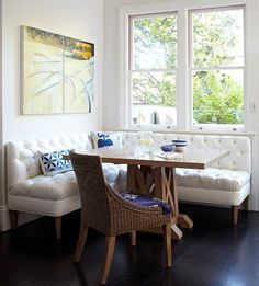 """Custom Corner Banquette for our Custom Build! We are loving the built-in banquette look right now! """"Corner banquettes are great f. Kitchen Nook Table, Banquette Seating In Kitchen, Dining Nook, Corner Banquette, Kitchen Ideas, Corner Table, Dining Tables, Diy Kitchen, Outdoor Dining"""