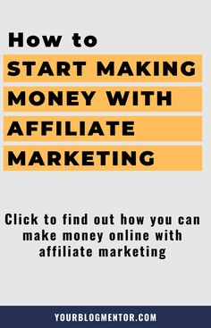 Wanna with ? Here's how to start with affiliate marketing and make a decent amount of money online. Make Money Blogging, Make Money Online, How To Make Money, Affiliate Marketing, Online Marketing, Marketing Training, Marketing Ideas, How To Start A Blog, How To Find Out
