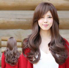 челка длинная на бок косая фото