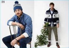 Model Justice Joslin sports casual fashions from LE 31 with standouts that range from a mini motif oxford shirt to a Nordic jacquard cardigan.
