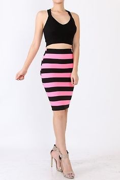 SOLID CROP TOP AND STRIPE MIDI SKIRT SET. MIX AND MATCH WITH YOUR FAVORITES! FEATURES SOLID CRISS-CROSS CROP TOP STRIPE MIDI SKIRT OCCASION COCKTAIL CLUBWEAR COLOR PINK BLACK 96% POLYSTER, 4% SPANDEX