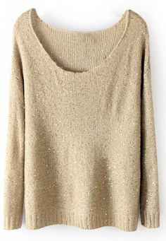 Beige Long Sleeve Sequined Loose Pullovers Sweater US$32.70