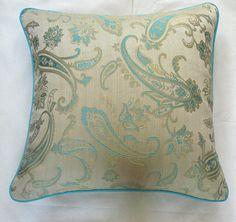 cream throw pillow cover with aqua blue paisey by anitanirma, $23.50