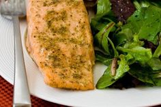 Easy Recipe for THE BEST Roasted Salmon with Rosemary-Garlic Rub (Low-Carb, Gluten-Free, Paleo).  This tastes like salmon you'd get in a fancy restaurant and it takes less than 15 minutes to make! [from KalynsKitchen.com]