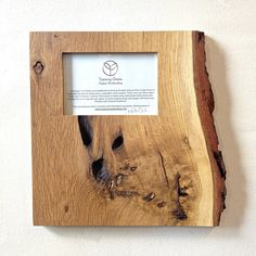 White Oak knotty burl wall frame, made by Turning Green. Because each piece is made from naturally fallen city trees, they will vary in color and shape, making each piece one of a kind. - $195, variety of pieces starting from $70