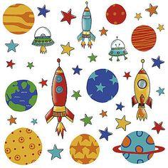 39 Wandsticker WAndtattoo Planeten Raketen Weltall Babyzimmer Kinderzimmer DEko in Möbel & Wohnen, Kindermöbel & Wohnen, Dekoration   eBay