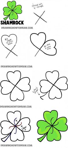 how to draw four leaf clovers and shamrocks Patricks Day doodles How to Draw a Four Leaf Clover or Shamrocks for Saint Patricks Day - How to Draw Step by Step Drawing Tutorials Four Leaf Clover Drawing, Clover Painting, Rock Painting, Desenhos One Direction, March Bullet Journal, St Patricks Day, Saint Patricks, St Pattys, How To Draw Steps