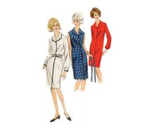 Perfect wardrobe builder - one piece shirt dress with sleeve variations pattern - 1960 Complete Original Butterick Pattern #3964