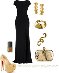 """Golden Party"" by ana-isabel-figueira ❤ liked on Polyvore"