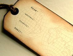 Luggage tags, with globe background, typewriter font, name, address, wedding favor escort card set 12