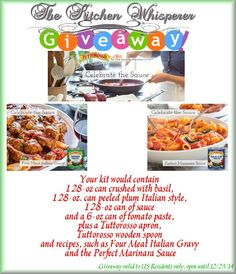 The Kitchen Whisperer Tuttorosso Tomatoes Prize Pack Giveaway Kit valid to US Residents only and valid until 12/23/14!  Enter today!