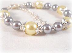 Little Girls Jewelry Bracelet Grey and Yellow Wedding Flower Girl